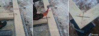Как положить первый ряд бруса на фундамент