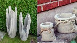 вазон из бетона в виде мешка