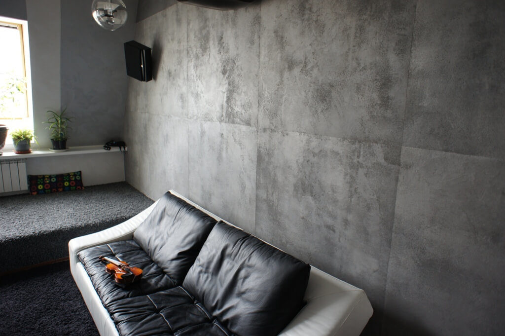 штукатурка под бетон в интерьере